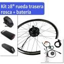 "Kit motor para bicicleta eléctrica 26"" rueda trasera rosca"