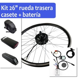 "Pack Kit eléctrico 26"" rueda trasera tipo cassette + batería"