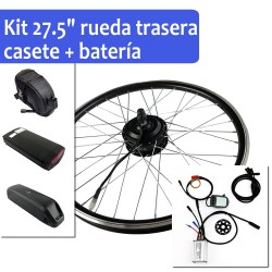 "Pack Kit eléctrico 27.5"" rueda trasera tipo cassette + batería"