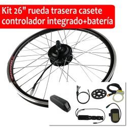 """Pack Kit eléctrico 26"""" rueda trasera tipo cassette controlador integrado + batería"""