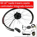 "Pack Kit eléctrico 26"" rueda trasera tipo casete controlador integrado + batería"