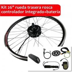 "Pack Kit eléctrico 26"" rueda trasera tipo rosca controlador integrado + batería"